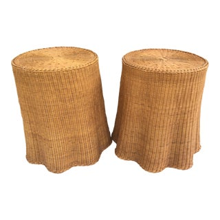 1960s Mid-Century Trompe L'oeil Woven Rattan Ghost Tables - a Pair For Sale