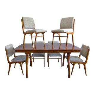 Peroba De Rosa Wood Dining Table and Chairs by Giuseppe Scapinelli, circa 1960 - 7 Pieces For Sale