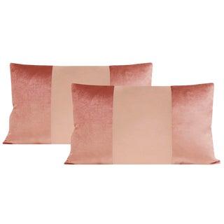 "12""x18"" Rose Gold Velvet & Silk Panel Lumbar Pillows - a Pair For Sale"