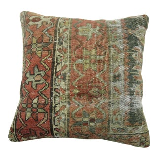 Shabby Antique Heriz Rug Pillow For Sale