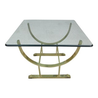 Glass and Brass Colored Claw-Foot Side Table