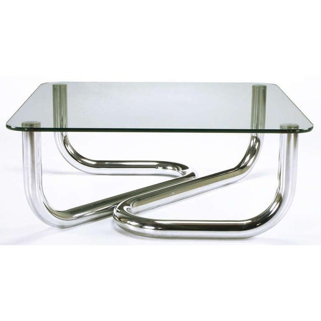 Sinuous Chrome and Glass Coffee Table - Image 4 of 7