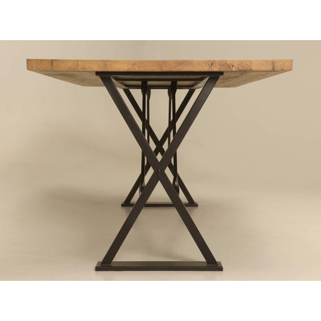 Gold Industrial Inspired Kitchen Table From French White Oak and Steel For Sale - Image 8 of 10