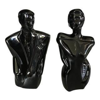 Modern Art Deco Revival Busts - a Pair