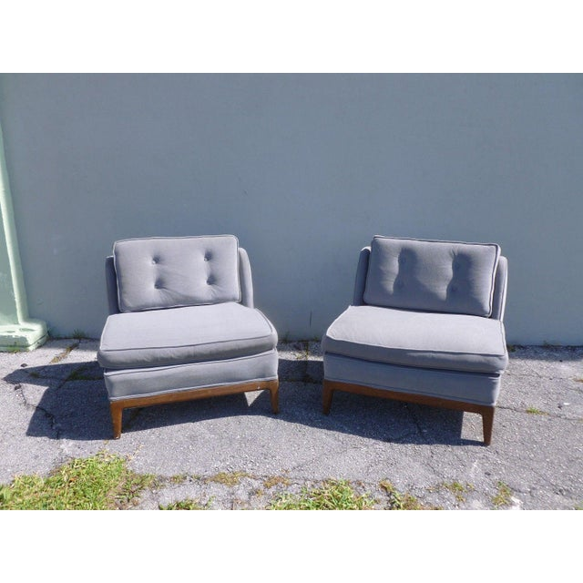 Marvelous mid-century high style low back slipper chairs manner Edward Wormley sold as found unrestored structurally sound...