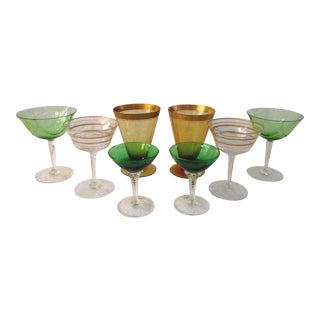 Mid-Century Green & Amber Cocktail Glass Collection, 8 For Sale