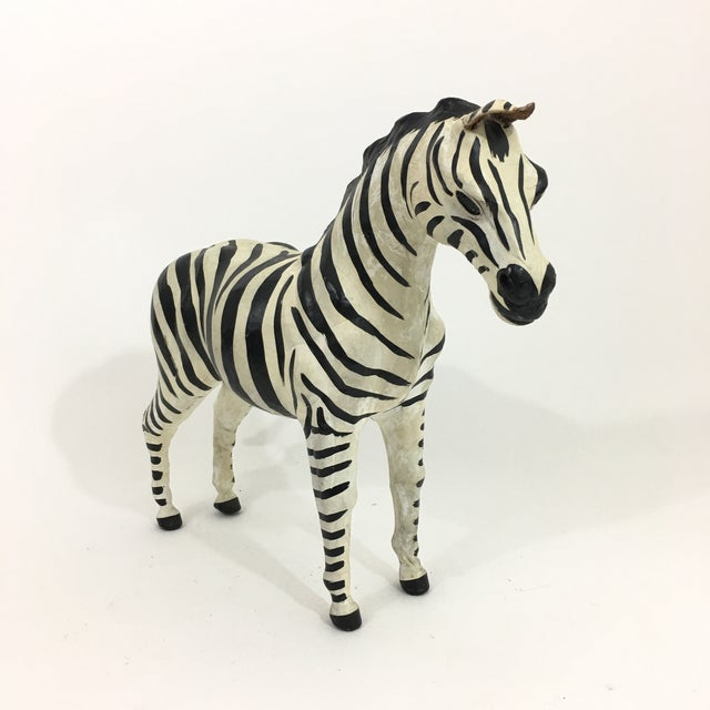 Animal Skin Hand Painted Leather Zebra Figure For Sale - Image 7 of 10