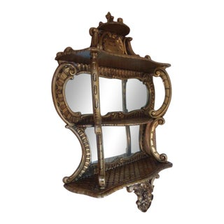 French Rococo Gilt Hanging Mirrored Etagere For Sale