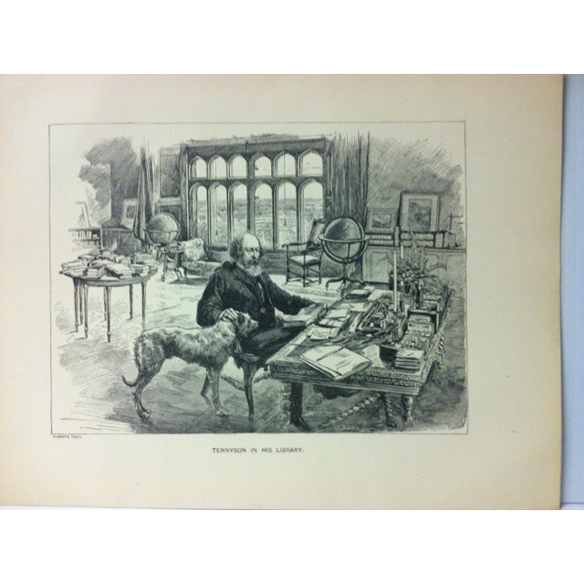 """This is an antique black and white print on paper that is titled """"Tennyson In His Library"""". The print is in good condition..."""