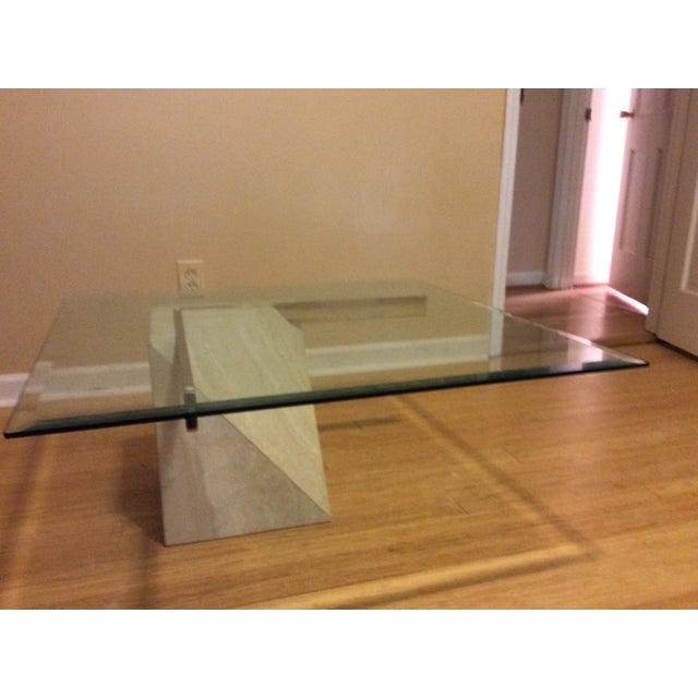 Mid-Century Travertine Glass Coffee Table - Image 4 of 5