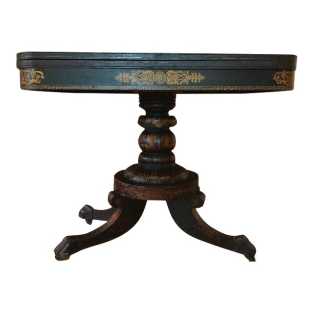 19th Century Traditional Ebonized Gilt Stenciled Card Table For Sale