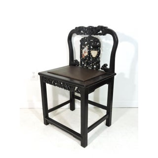 Antique 19th Century Chinese Blackwood, Marble & Mother of Pearl Upholstered Formal Side Chair Preview