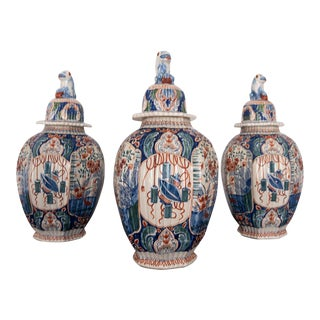 Antique French Delftware Pottery Tinglazed Vases and Covers Dutch Style - Set of 3 For Sale