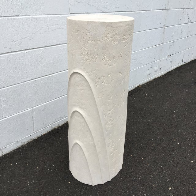 White Concentric Oval Sculptural Plaster Pedestal For Sale - Image 8 of 8