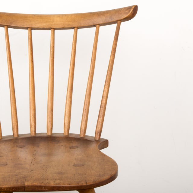 Wood Small Danish Shaker Style Windsor Chair For Sale - Image 7 of 12
