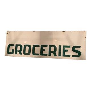 Vintage Metal Groceries Sign For Sale