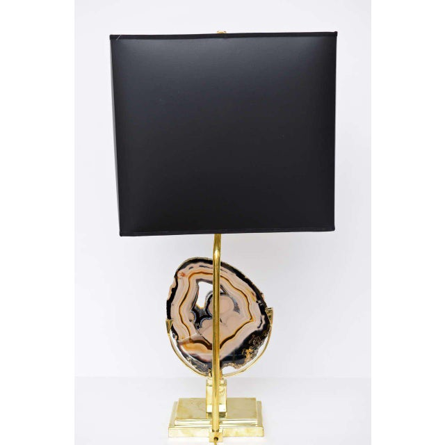 Brass Table Lamp with Agate Disc For Sale In Miami - Image 6 of 10