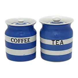 1930s Cornishware Coffee & Tea Canisters
