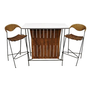 Mid Century Modern Arthur Umanoff Wrought Iron and Rattan Bar and Bar Stools- 3 Pieces For Sale