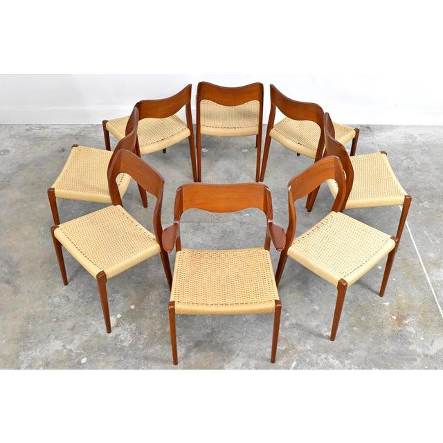 Niels Moller j.l. Møller Model 71/55 Teak & Danish Cord Dining Chairs - Set of 8 For Sale - Image 4 of 13