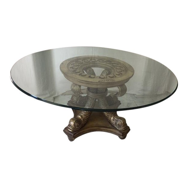 Transitional Neo Classical Gold Silver Gilt Dolphin Dining Table - Image 1 of 7