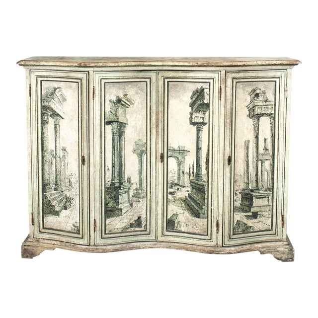 Pair of Italian Neoclassical Grisaille Painted Commodes For Sale