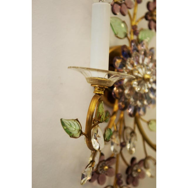 Austrian vintage crystal flowers wall sconce For Sale - Image 6 of 10