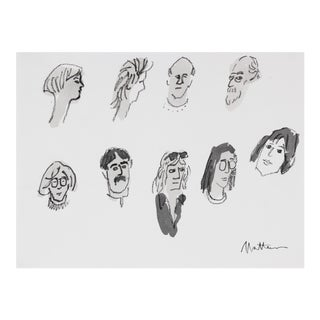 20th Century Monochromatic Portrait Studies in Ink and Charcoal Drawing For Sale