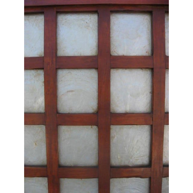 Mid-Century Four Panel Abalone and Mahogany Screen For Sale - Image 5 of 6