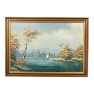 Mid-Century Ducks Over Water Landscape For Sale