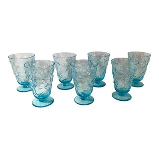 Mid Century Peacock Blue Footed Glasses by Seneca - Set of 7 For Sale