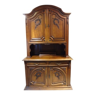 French Carved Walnut China Cabinet For Sale