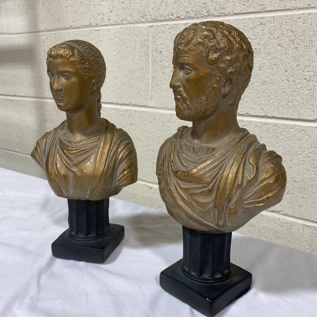 Great pair of neoclassical style cholesterol busts in an antique gold finish. A couple tiny chips to chalk ware that I...