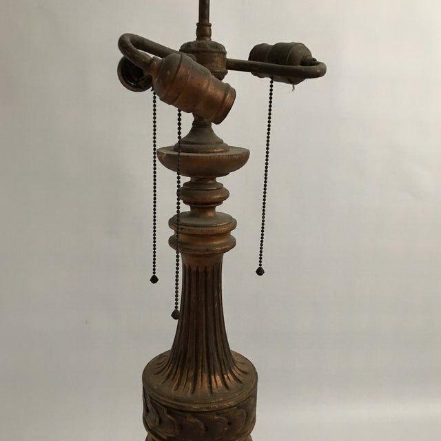 Antique Gold Table Lamp For Sale In Charlotte - Image 6 of 11