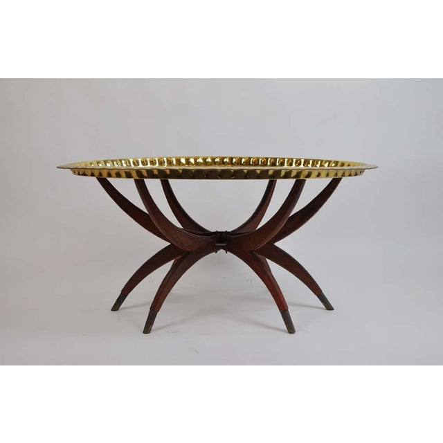 Boho Chic Boho Oval Brass Tray Coffee Table For Sale - Image 3 of 8