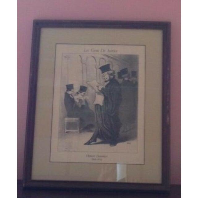 "Figurative Vintage Framed Honore Daumier ""Les Gens De Justice"" 885"" Lithograph Print For Sale - Image 3 of 8"
