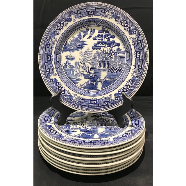 "set of 10 John Tams blue and white chinoiserie dinner plates made in England. These measure 10 3/4"" in diameter. They..."