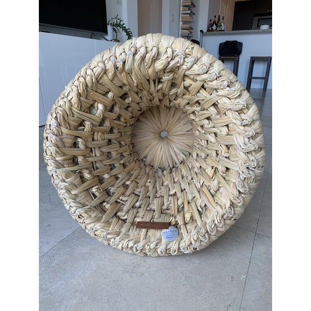 21st Century Vintage Handcrafted Palm Woven Tule Stoo For Sale - Image 4 of 5