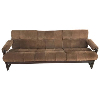 Perceval Lafer Brazilian Rosewood and Suede Sofa For Sale