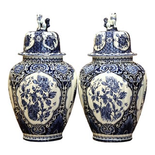 Pair of Mid-20th Century Dutch Blue and White Faience Delft Ginger Jars For Sale