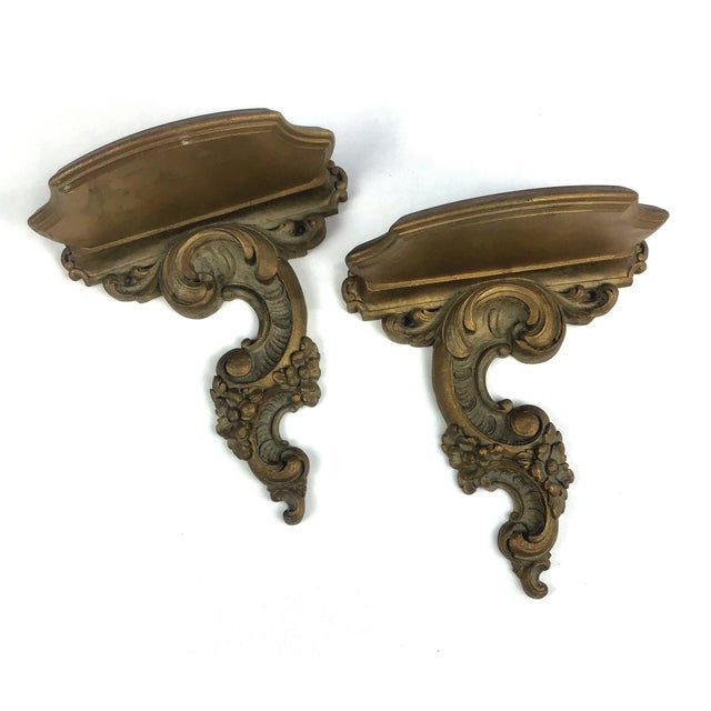 Syroco Wood Neoclassical Italian Style Carved Wall Sconce Shelves - a Pair For Sale - Image 10 of 10