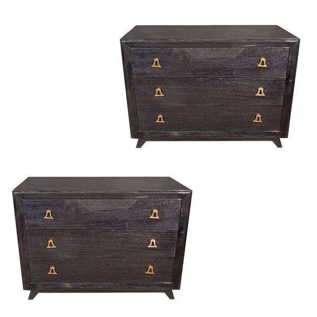 Pair of Mid-Century Modern Silver Cerused Chests With Stylized Brass Pulls For Sale - Image 10 of 10