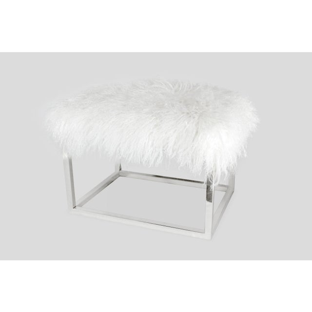 Curly Chris Bench Bright White Made of Tibetan Lamb Please allow 4 weeks before the item ships.