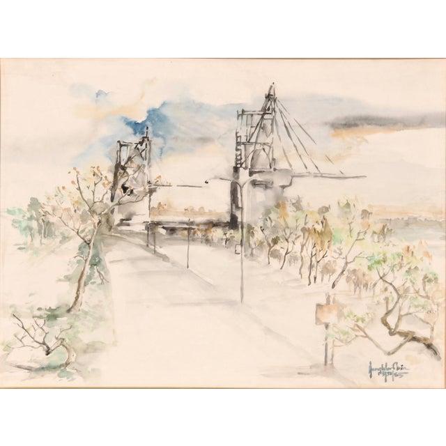 Original Watercolor of a Bridge Scene - Image 2 of 2