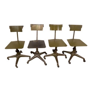 1930s Industrial Burroughs Adding Machine Company Metal Company Chairs - Set of 4