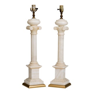 Neoclassical Alabaster Ionic Column Table Lamps - a Pair For Sale
