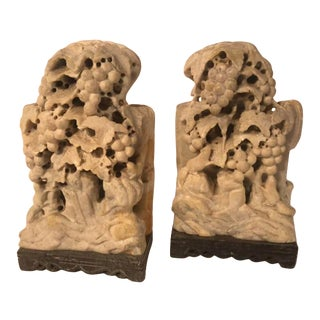 20th Century Carved Stone Chinese Bookends Grapevine and Squirrel Motif - a Pair For Sale