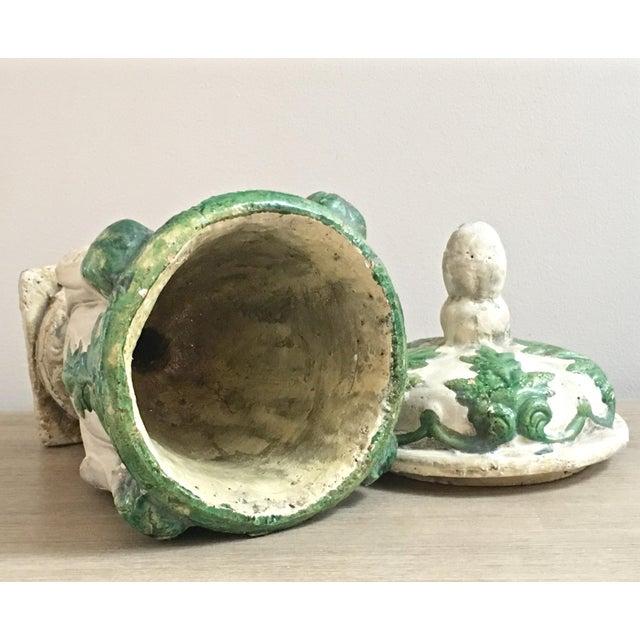 Vintage Mid Century Cast Concrete Lidded Urn For Sale - Image 9 of 13