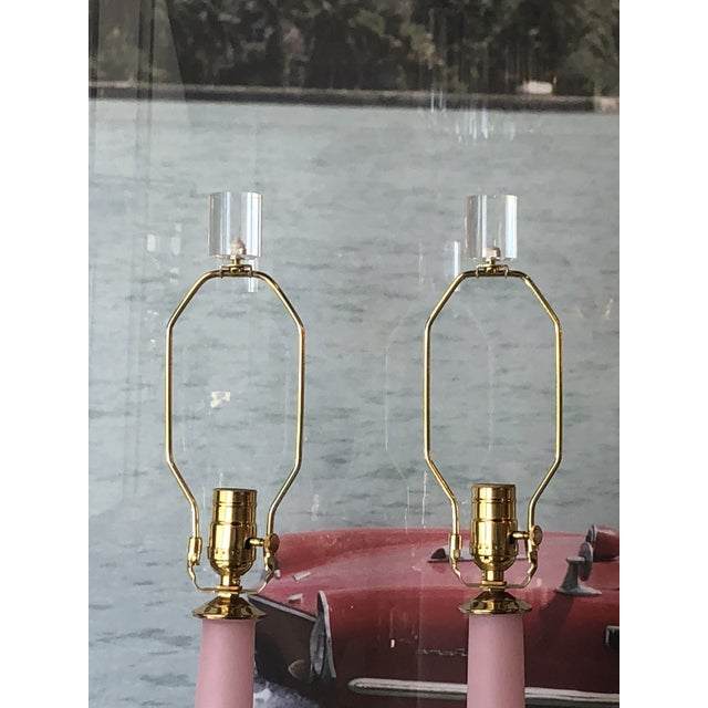 Vintage Murano Blush Pink Frosted Glass, Lucite, Brass Table Lamps - A Pair For Sale - Image 9 of 13