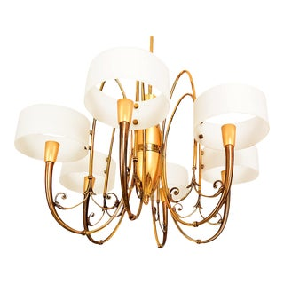 Italian Sculptural Brass Chandelier with Opaline Glass